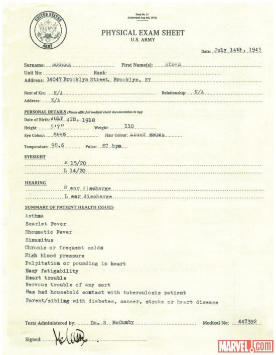 an Army form with vital statistics and a typewritten list of health issues