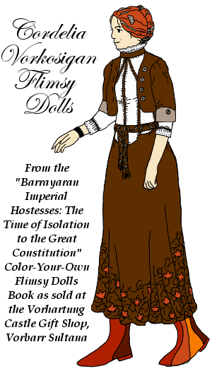 Cordelia Vorkosigan Paper Dolls from the 'Barrayaran Imperial Hostesses: the Time of Isolation to the Great Constitution' color-your-own flimsy dolls book.