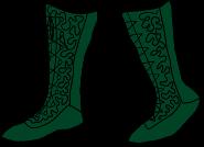 green calf-high boots