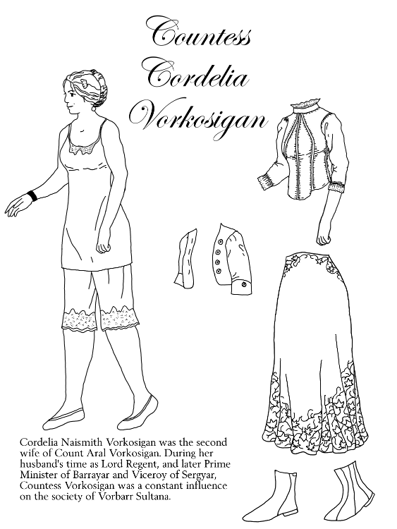 Base body of Cordelia in a chemise and knee-length pantalettes; blouse, bolero, skirt, ankle boots.