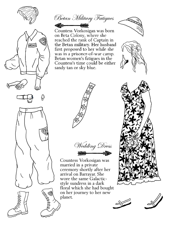 Betan fatigue jacket, pants, boots, and belt; hand holding nerve disruptor; hair in bun; loose hair with combs; sandals; dark-floral-patterned dress; sun hat; over-shoulder sash with maple leaf pattern