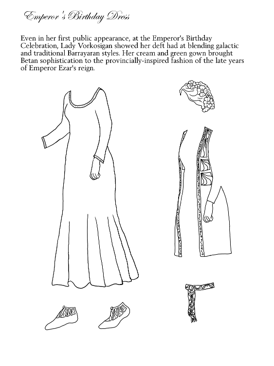 long pre-Raphaelite dress; hair in updo with flowers; dancing slippers; long open overvest; waist-tied sash with maple keys