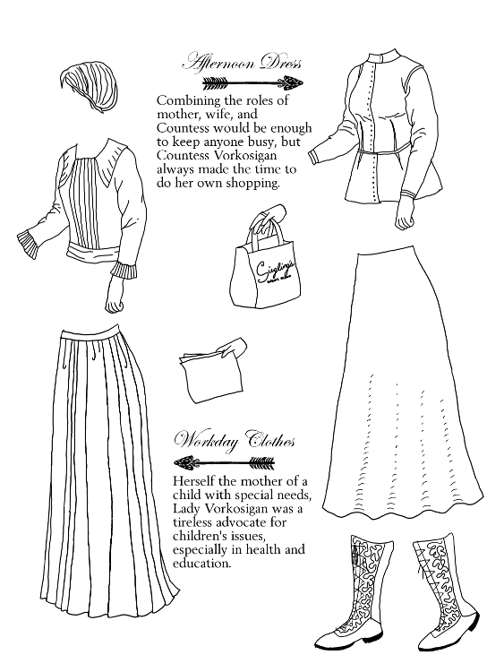 Loose pleated blouse and skirt, loose updo for hair, jacket with skirts, long skirt, mid-calf embroidered boots, hand with flimsy sheets, hand with shopping bag