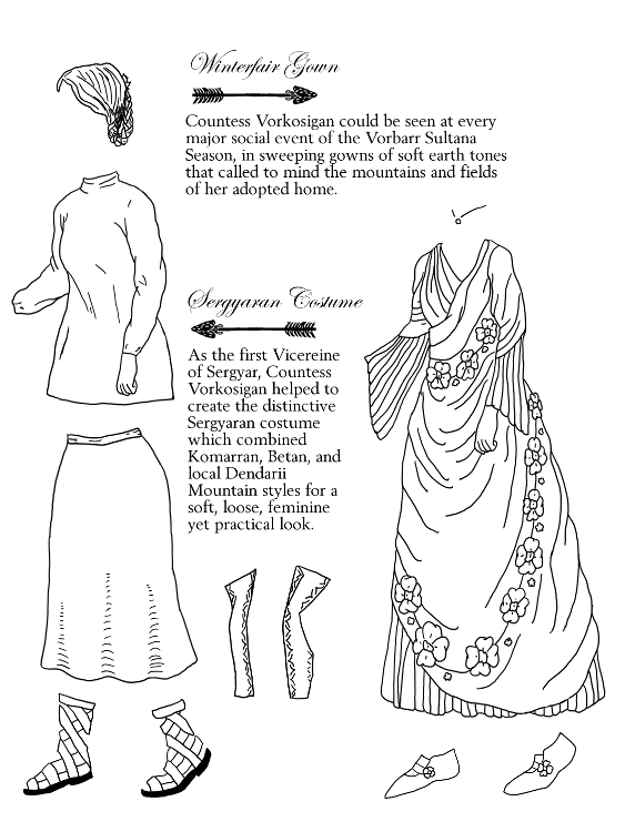 Loose turtleneck, short vest, mid-calf skirt, mid-calf laced sandals, draped and pleated dress with wide skirt, floral garland, and matching slippers, planetary necklace