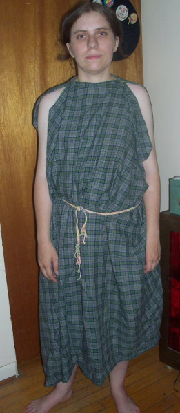 Me in a very basic green plaid Roman drapery.