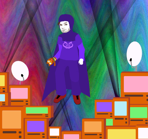 Homestuck-style illustration of Charlie in his purple Knight of Rage godhood, with Mr. Fuggles on one arm, hovering over LoWaT.